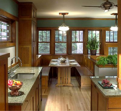 Bungalow Kitchen Remodel With Breakfast Nook If She Lived Here - Craftsman bungalow kitchen breakfast nooks