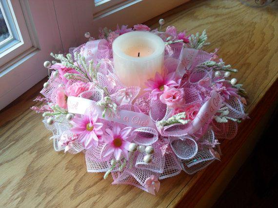 It S A Girl Deco Mesh Wreath Centerpiece Mesh Wreaths Deco Mesh