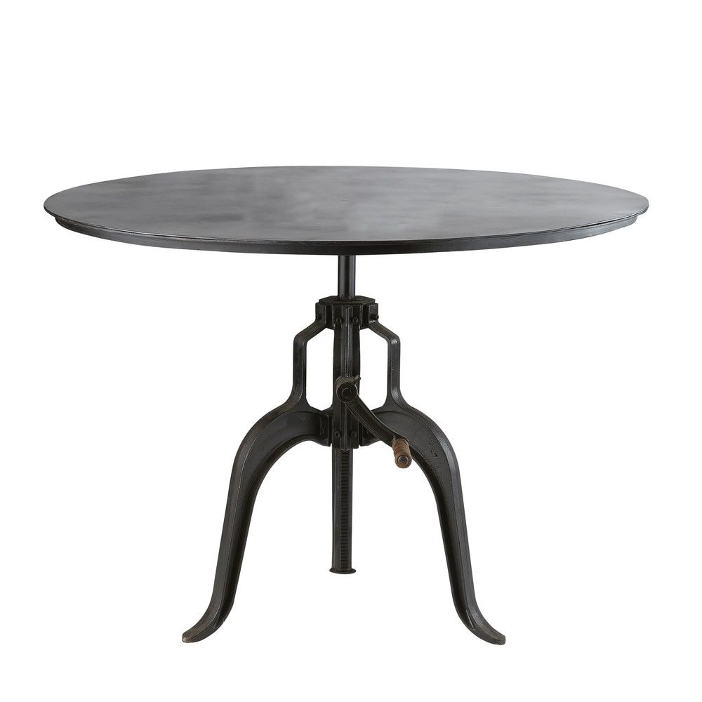 Black Metal 4 5 Seater Adjustable Round Dining Table D 110 Cm | Maisons