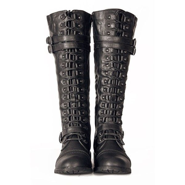 630236782d9 Black Knee High Lace up Combat Steampunk Western Military Boots ...