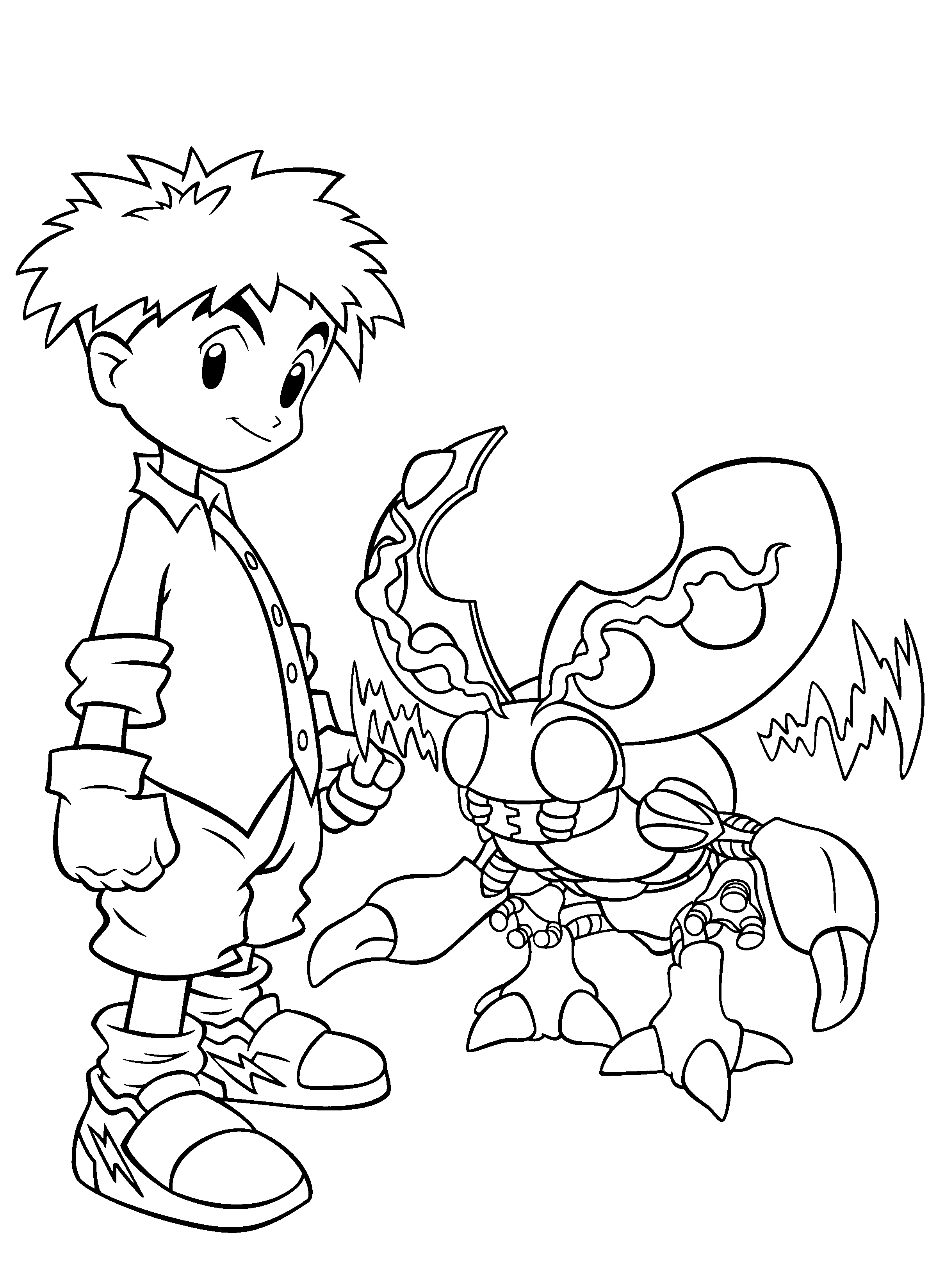 Digimon Pose With Partner  Digimon Coloring Pages  Pinterest