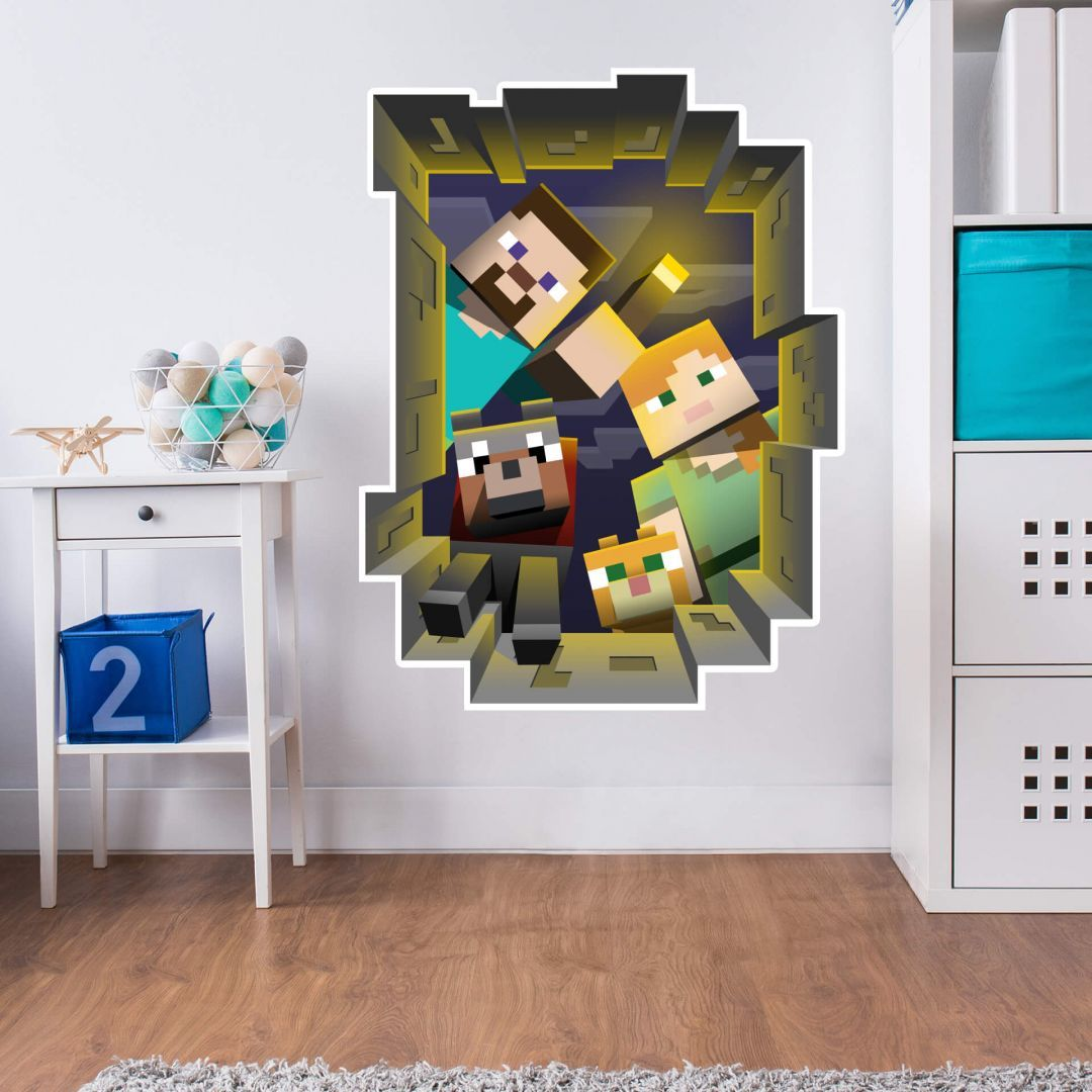 Wall Sticker Minecraft Caved In Wall Kitchen Wall Stickers Minecraft Wall Wall Stickers Minecraft