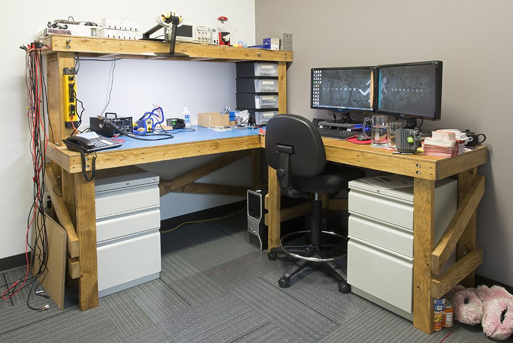 Corner workbench with computer station man cave for Man cave desk