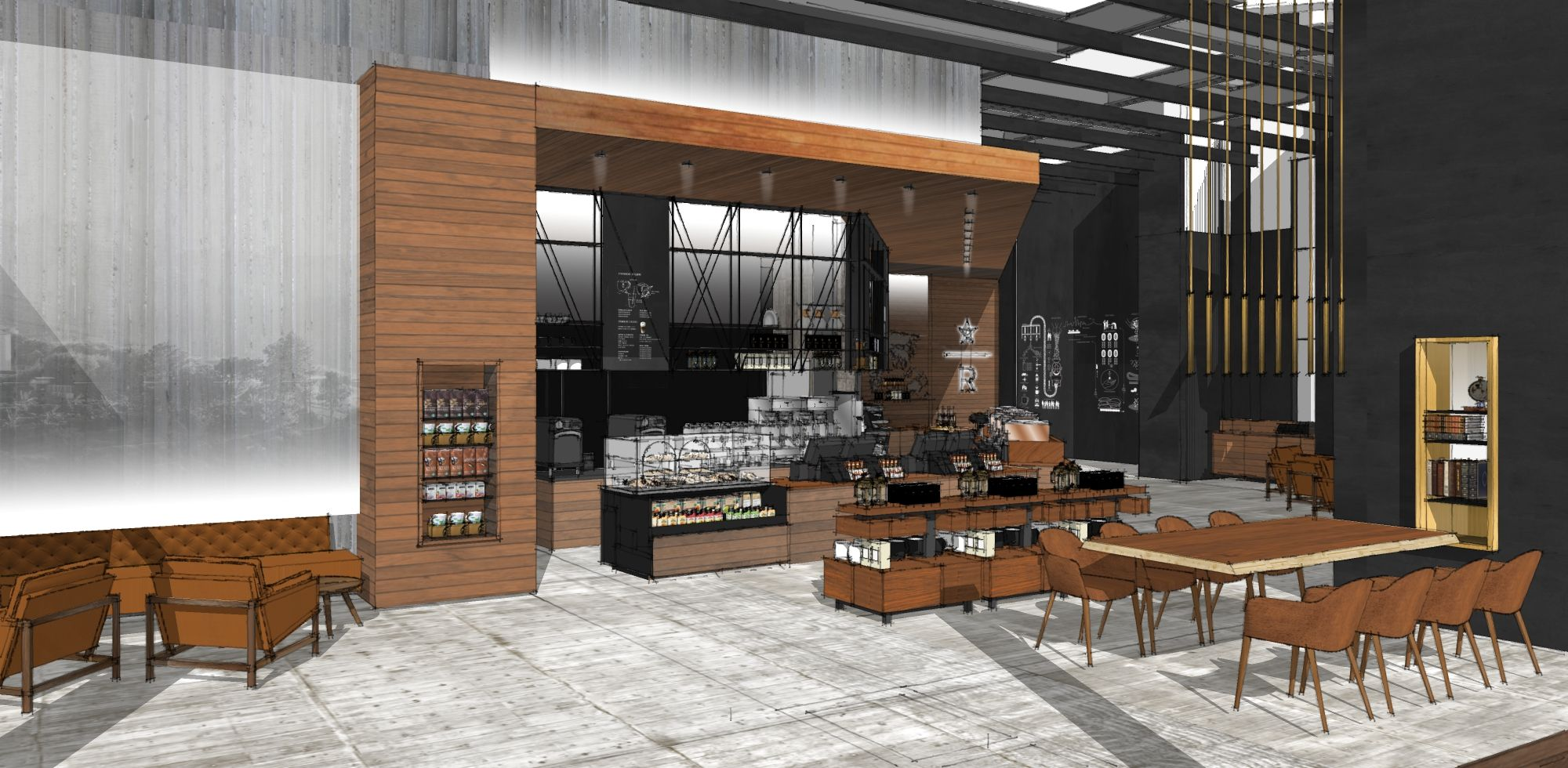 Sketchup rendering of the starbucks reserve bar at