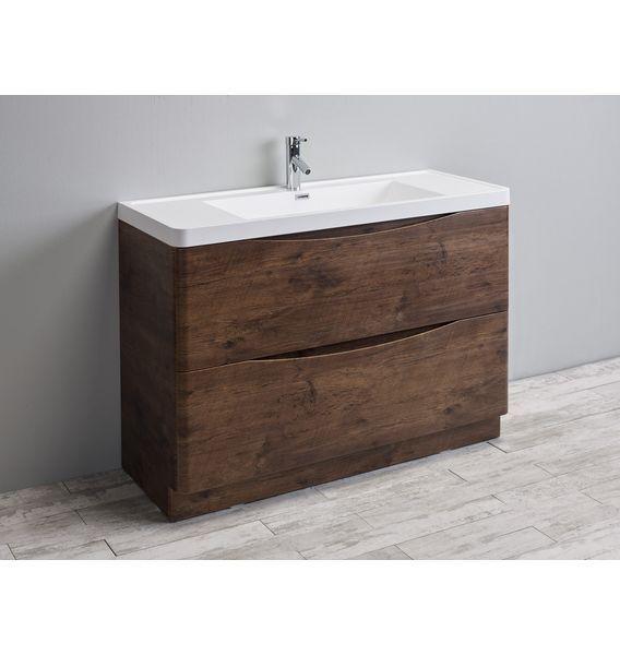 Eviva Smile 48 in Rosewood Modern Single Bathroom Vanity Set With