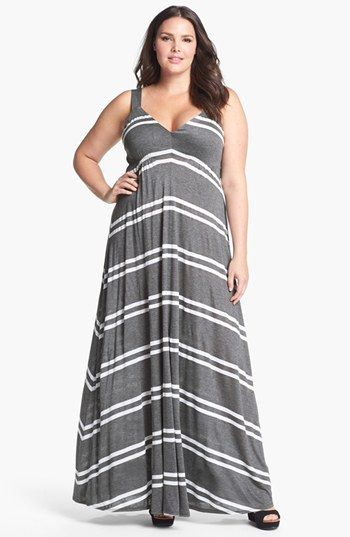 ddb193b3bf1be Eight Sixty Stripe Jersey Maxi Dress (Plus Size) available at  Nordstrom