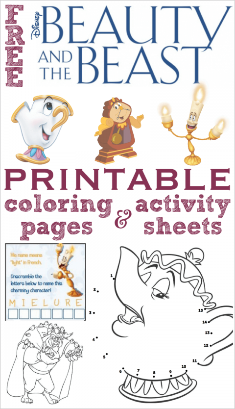 Free Printable Beauty and the Beast Coloring Pages and Activity ...