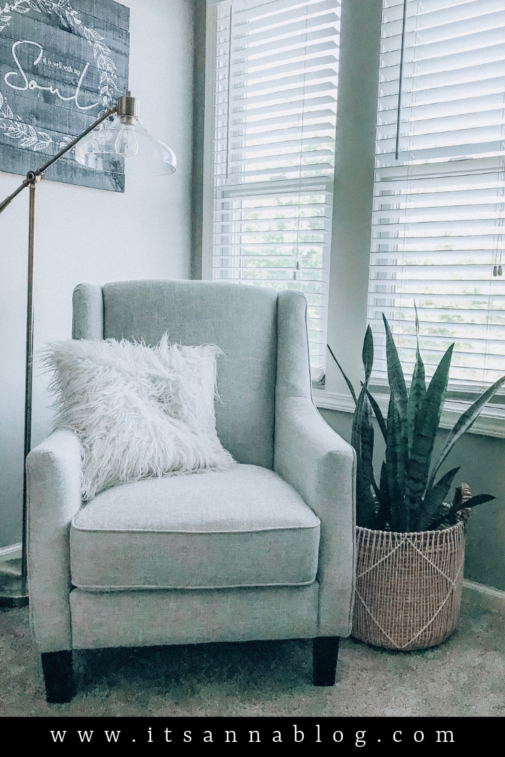 Gray Chair And Snake Plant In Corner Of Room With A Lamp Above It In 2020 Corner Chair Decor Corner Chair Bedroom Grey Chair Living Room