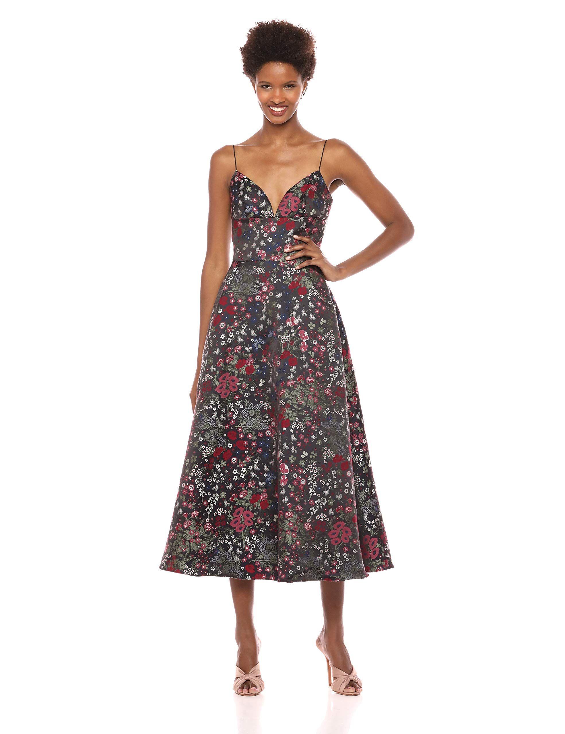 4f220ac1cd0 ML Monique Lhuillier Women s Midi Length Jacquard Cocktail Dress ...