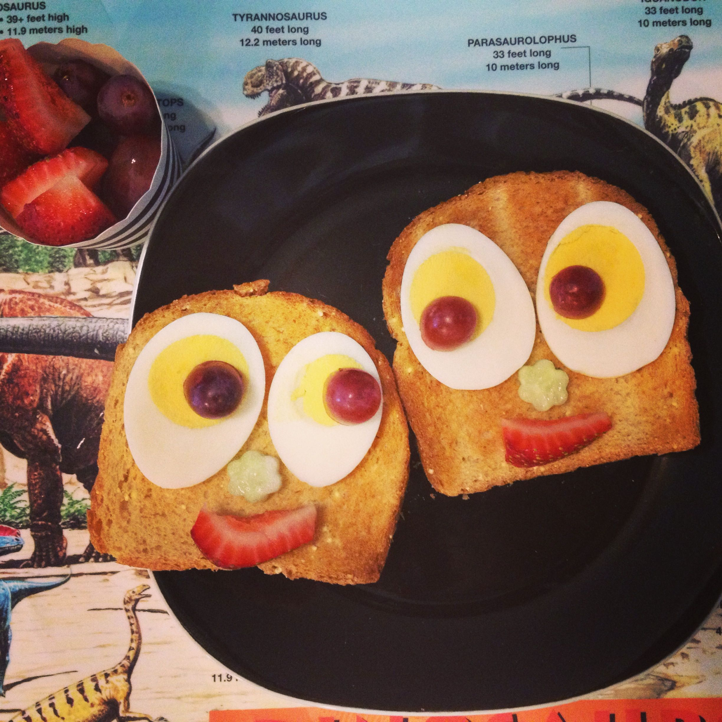 Toddler Breakfast Idea Millet Zucchini Toast W Hard Boiled Eggs Grapes Strawberry Cucumber