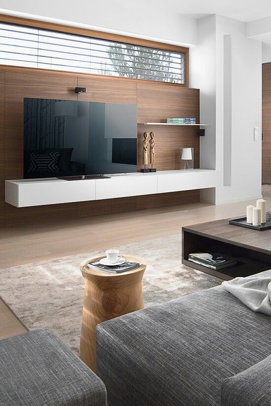Modern living room wood wall