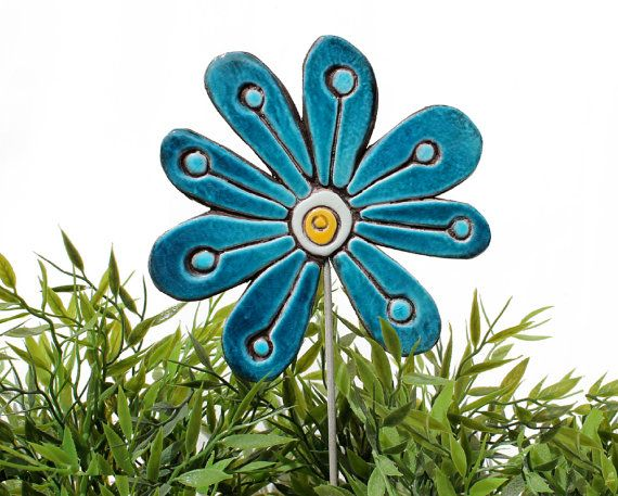 abstract flower garden art  ceramic lawn ornament  frost by GVEGA, €19.00