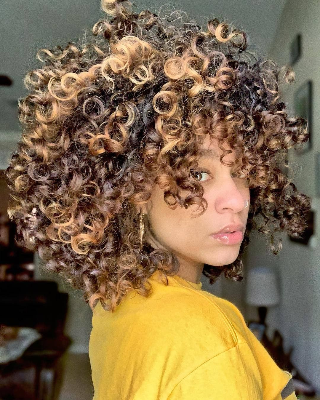 Linet K S Tips On Curly Hair On Popsugar Balayagabylinet Highlights Curly Hair Natural Curls Hairstyles Black Hair Curls