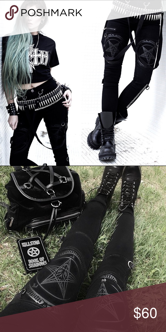 💔SOLD ON DEPOP💔Kill Star grave slave pants Size small / never worn / bought from dollskill website ☠️🤘 these babies are bad ass. cheaper on d. P. killstar Pants