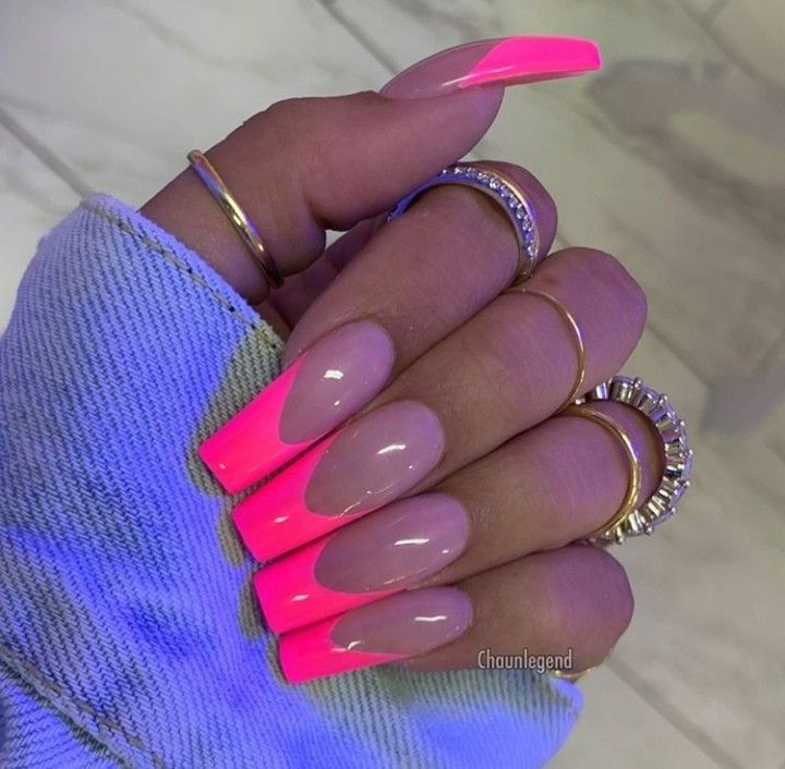 Neon Acrylic Nailart Style Fashionista 2019 Meaghanelizabeth Dream Nails Pink Tip Nails Pink Nails