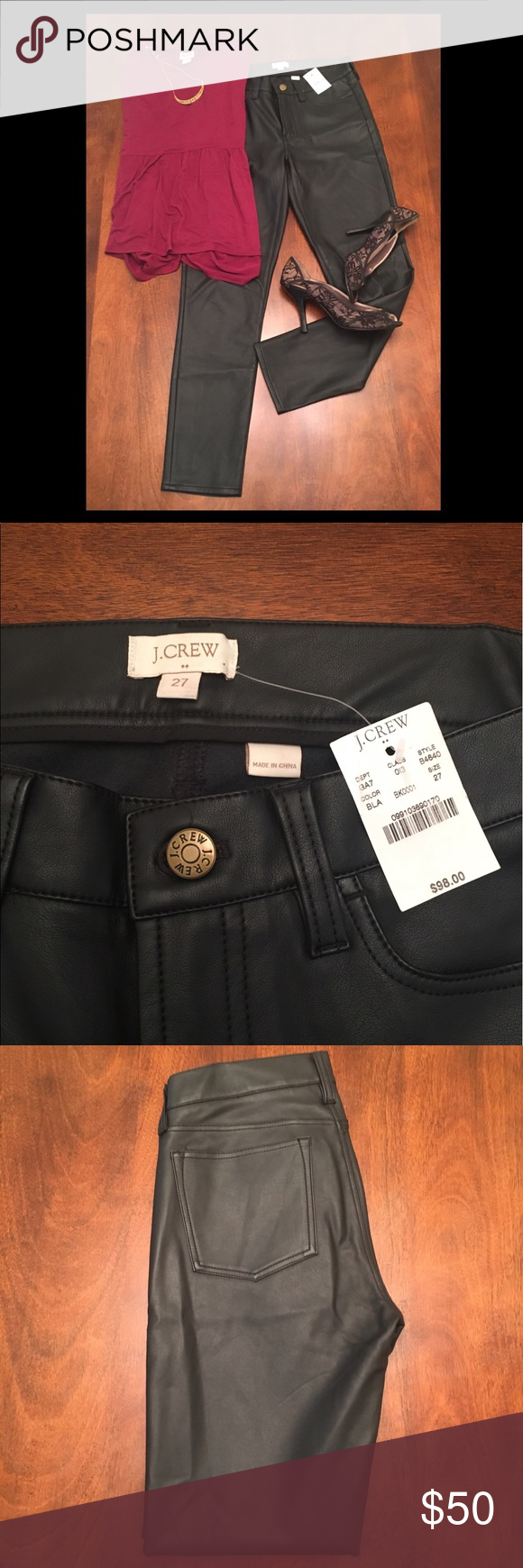 """J CREW faux leather pants NEW WITH TAGS! * Viscose rayon. * Sits on hips, with a superskinny, straight leg. * 28"""" inseam. * Traditional 5-pocket styling. * Dry clean * Import. * Length - approx 27 1/2 J. Crew Pants"""