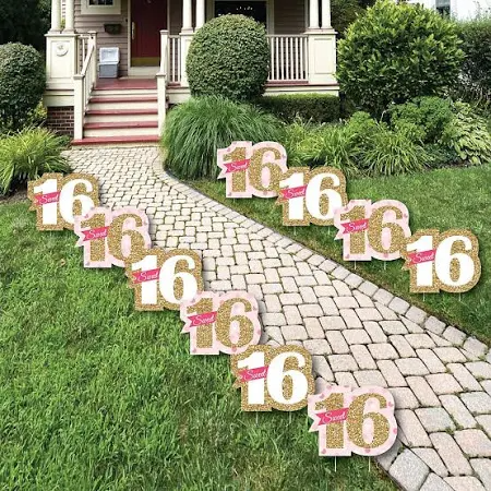 Sweet Sixteen Lawn Signs Google Shopping Outdoors Birthday Party Outdoor Birthday Big Dot Of Happiness