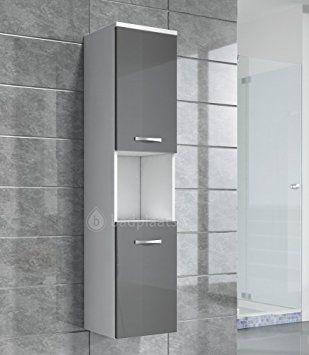 Storage Cabinet Montreal 131cm Height Grey High Gloss Tall Cupboard Bathroom Furniture