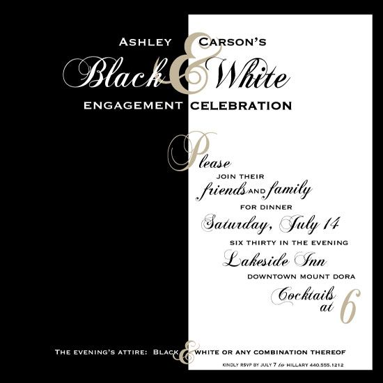 Black and White Theme Party Invitation – Black and White Party Invitation Wording