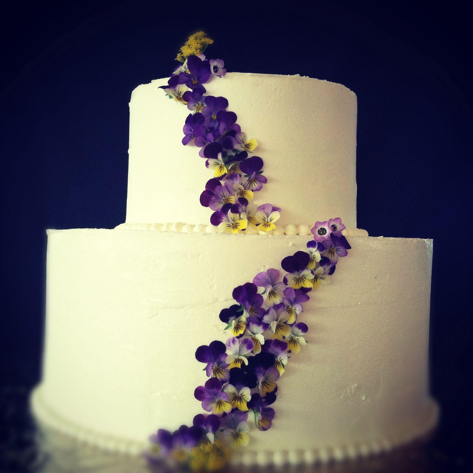 wedding cakes with panseys - Google Search   Jewel Tones   Pinterest ...