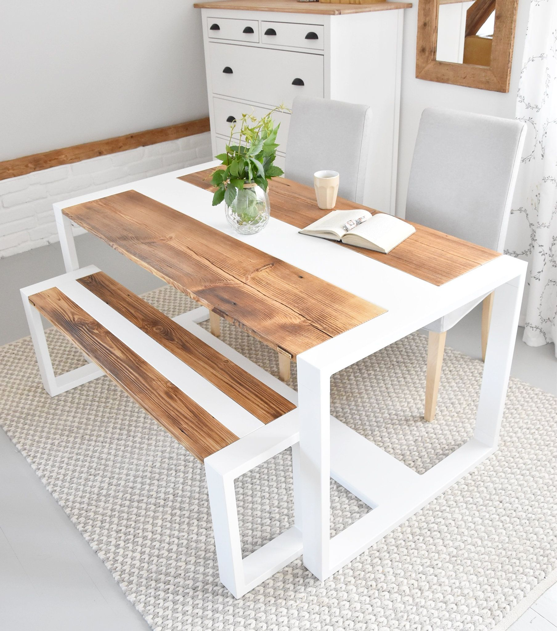 Modern Old Wood White Steel Barn Dining Table Set With Bench Etsy In 2021 Modern Wooden Kitchen Tables Wood Dining Table Modern Wood Table Rustic