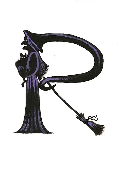 Halloween alphabet letter r cat witch ryta halloween for Spooky letter stencils