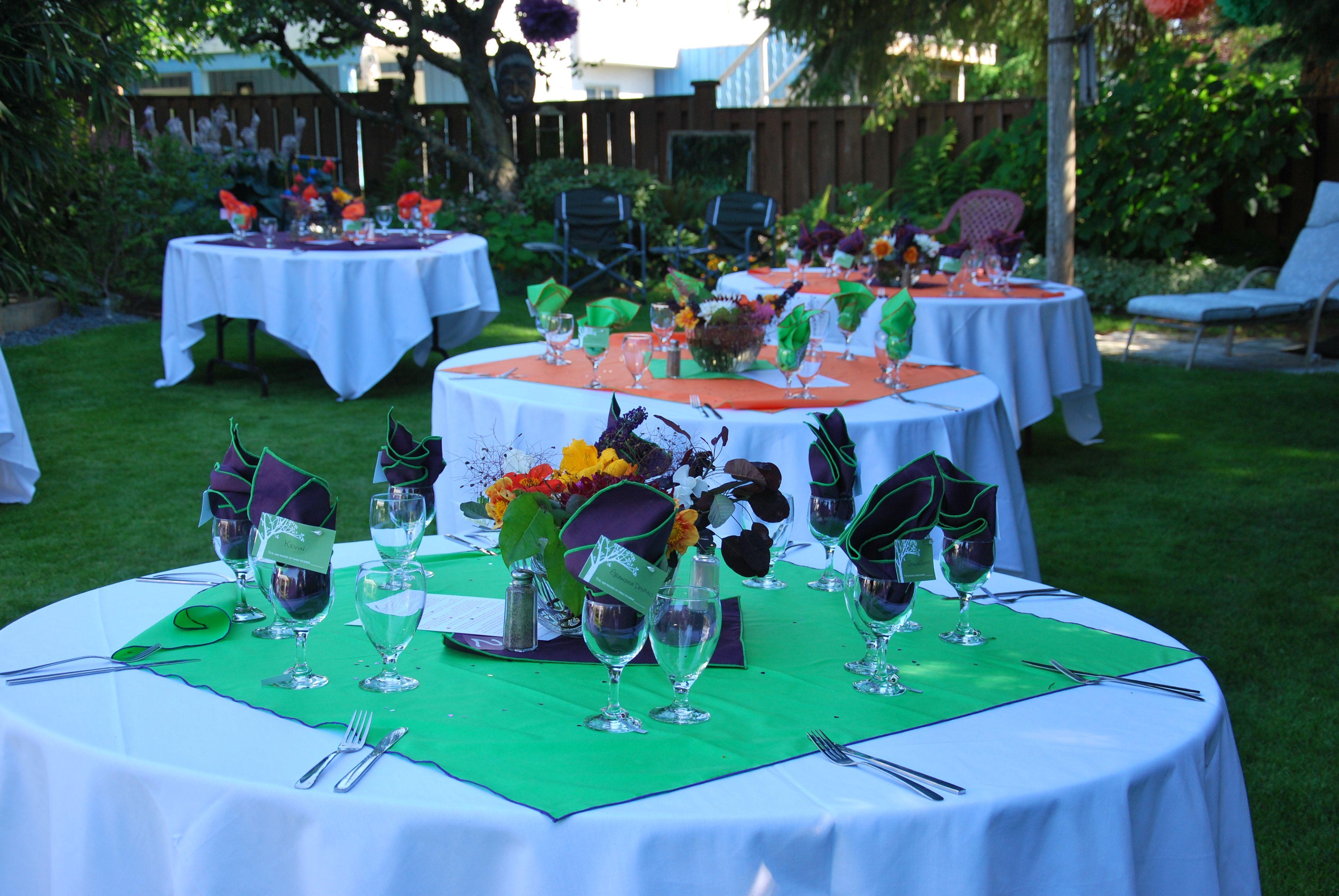 DIY backyard wedding reception with home-made table ...