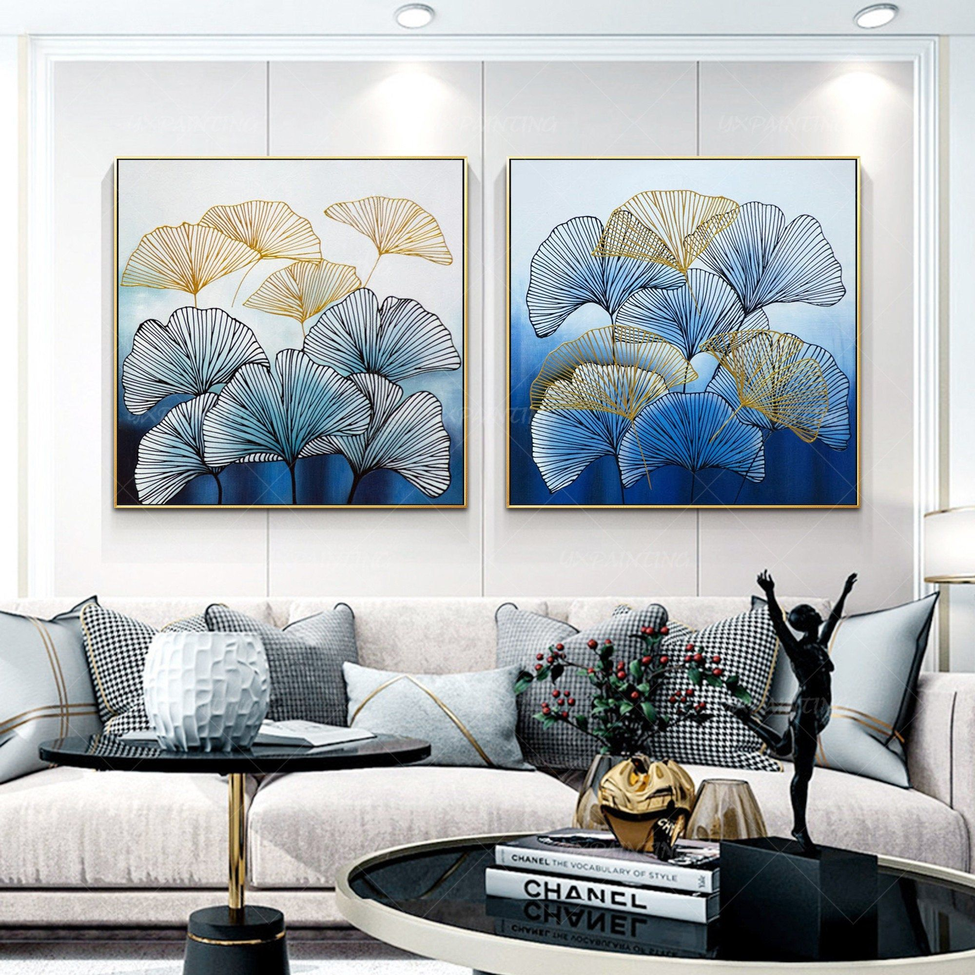 Set Of 2 Wall Art Frame Painting Abstract Floral Original Gold Etsy Abstract Painting Painting Frames Acrylic Painting Canvas