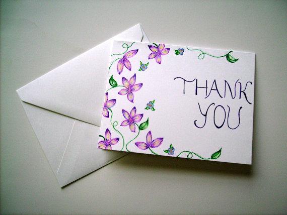 Hand drawn thank you card blank card greeting card floral thank hand drawn thank you card blank card greeting card floral thank you card m4hsunfo