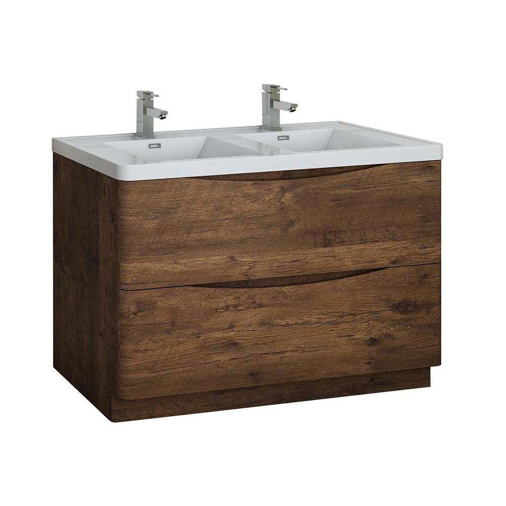 Fresca Tuscany 48 In Modern Double Bath Vanity In Rosewood With