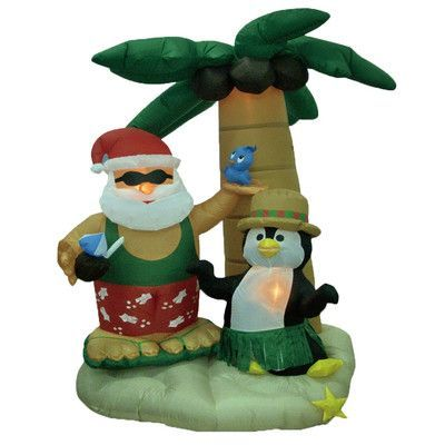 BZB Goods Christmas Inflatable Santa and Penguin with Palm Tree - inflatable outdoor christmas decorations