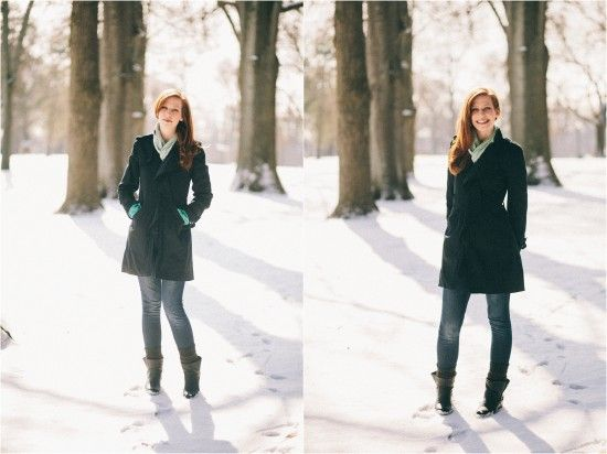 Snowy outdoor portrait photography - model poses - redhead - winter portraits of women   Photos by Lauren D. Rogers Photography www.laurendrogers.com