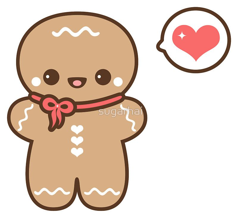 Cute Gingerbread Man Sticker By Sugarhai In 2021 Kawaii Christmas Christmas Drawing Christmas Doodles