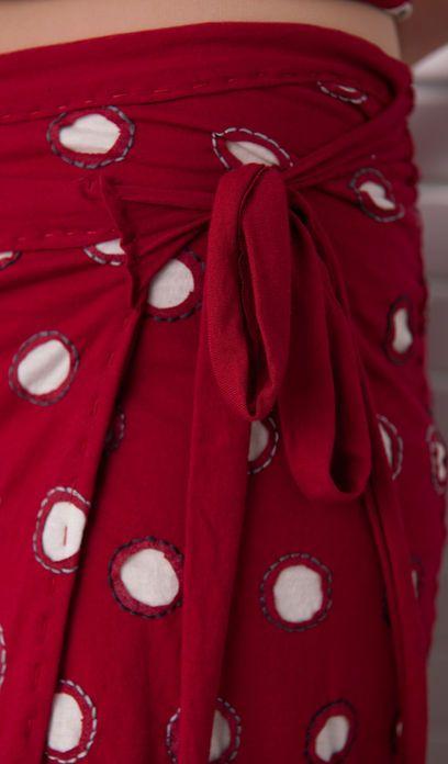 Small Polka Dot Wrap Skirt - Alabama Chanin