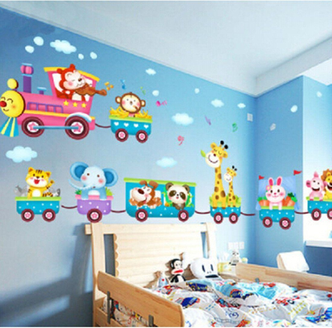Amazon.com: Baby Kids Safari Animals Train Wall Stickers Nursery ...
