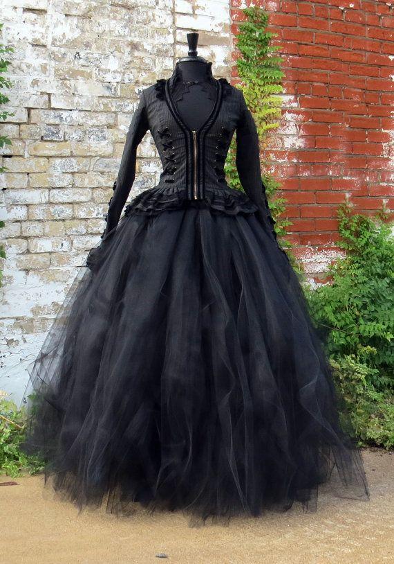 95b480d344 Full length black tulle skirt for Victorian Costume, Mourning Dress, #LOVE  Dickens Costume, Penny Dreadful or Vampire, Crimson Peak Costume Skirt