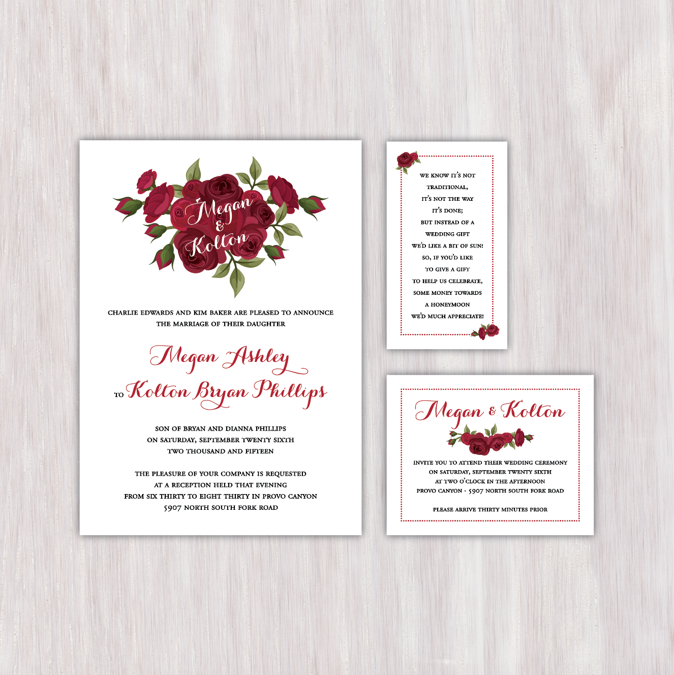 Red roses single-sided wedding announcement with matching honeyfund ...