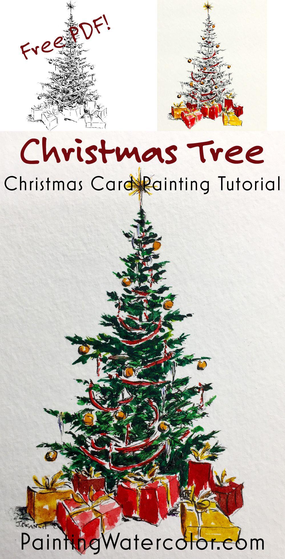 Paint A Beautiful Christmas Tree For Your Christmas Cards Free Printable Pdf And Y Christmas Tree Drawing Watercolor Christmas Cards Watercolor Christmas Tree