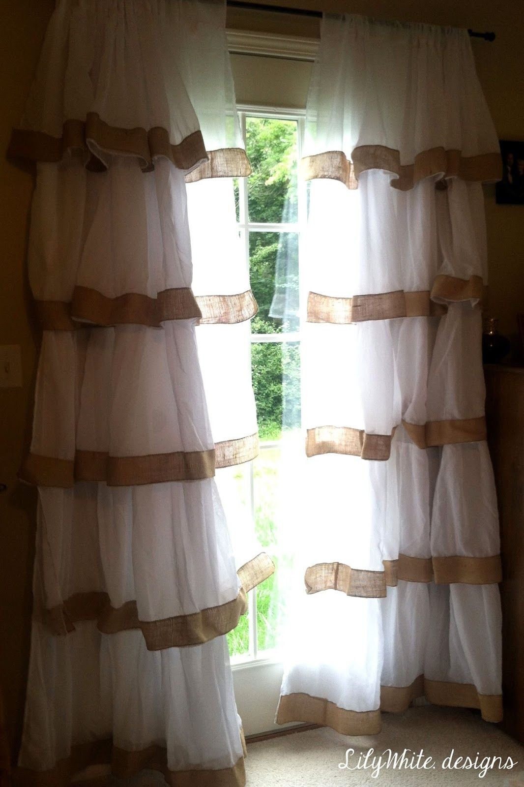 Burlap Ruffle Curtains With Images Ruffle Curtains Curtains
