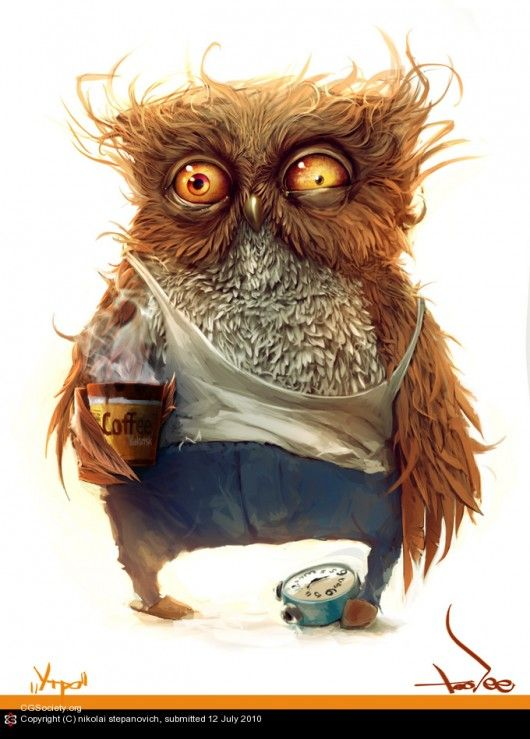 An owl tries to stay awake by Nikolai Stepanovich from Russia - how to stay awake at work