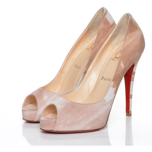 b412f7979905d4 CHRISTIAN LOUBOUTIN Suede Calfskin Woodstock Very Prive 120 Peep Toe... ❤  liked on Polyvore featuring shoes