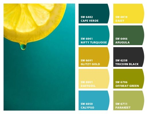 What a fresh, juicy combo. This would look great in a bathroom, or in a guest room. Teall walls with lemon yellow accents, maybe even big green plants.  Chip It! by Sherwin-Williams – Home