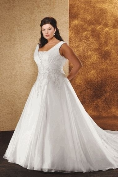 Modest beautiful a line v neck appliques court train plus for Courthouse wedding dress plus size