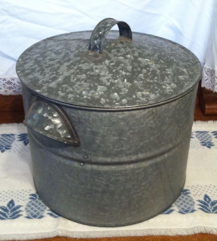 Vintage Galvanized Steel Water Bath Canner W Rack Old