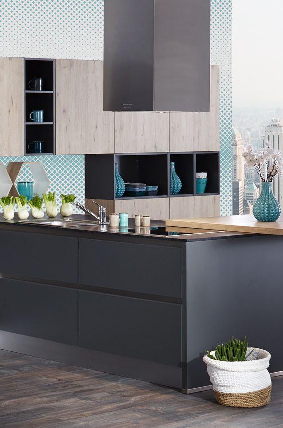 Geometric Look in der Küche, mit grauer Front vor