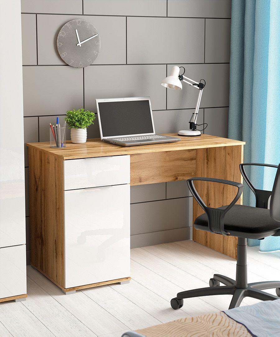 Modern White Gloss Oak Computer Desk With Drawer For Home Office Study 120cm Zele S383 Biu 120 Dwo Bip Kpl01 In 2020 Office Table Design Study Table Designs Workspace Design