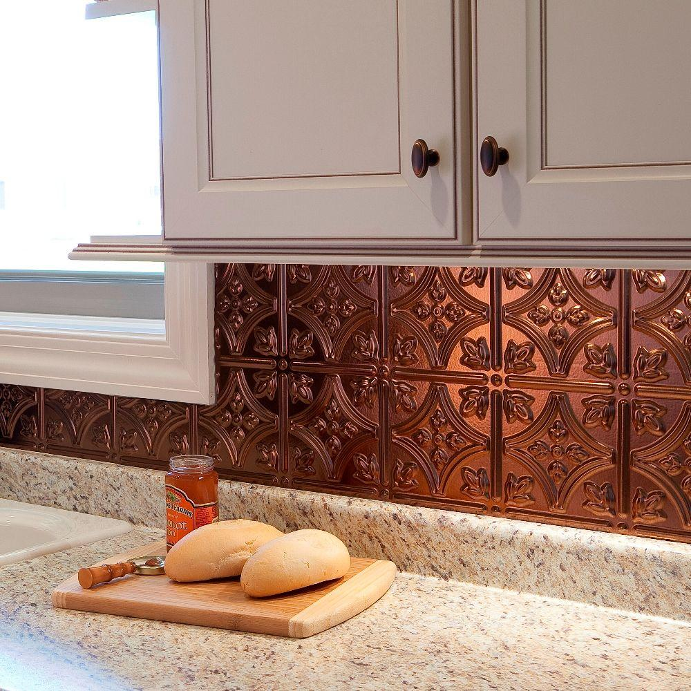 Fasade 24 in x 18 in traditional 1 pvc decorative backsplash panel traditional 1 pvc decorative backsplash panel in cracked dailygadgetfo Choice Image