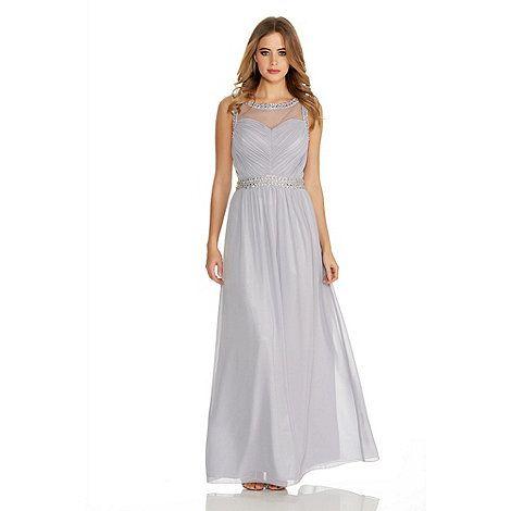 74877433b5d67 Bridesmaid dress. Quiz Grey Chiffon Mesh Embroidered Maxi Dress | Debenhams