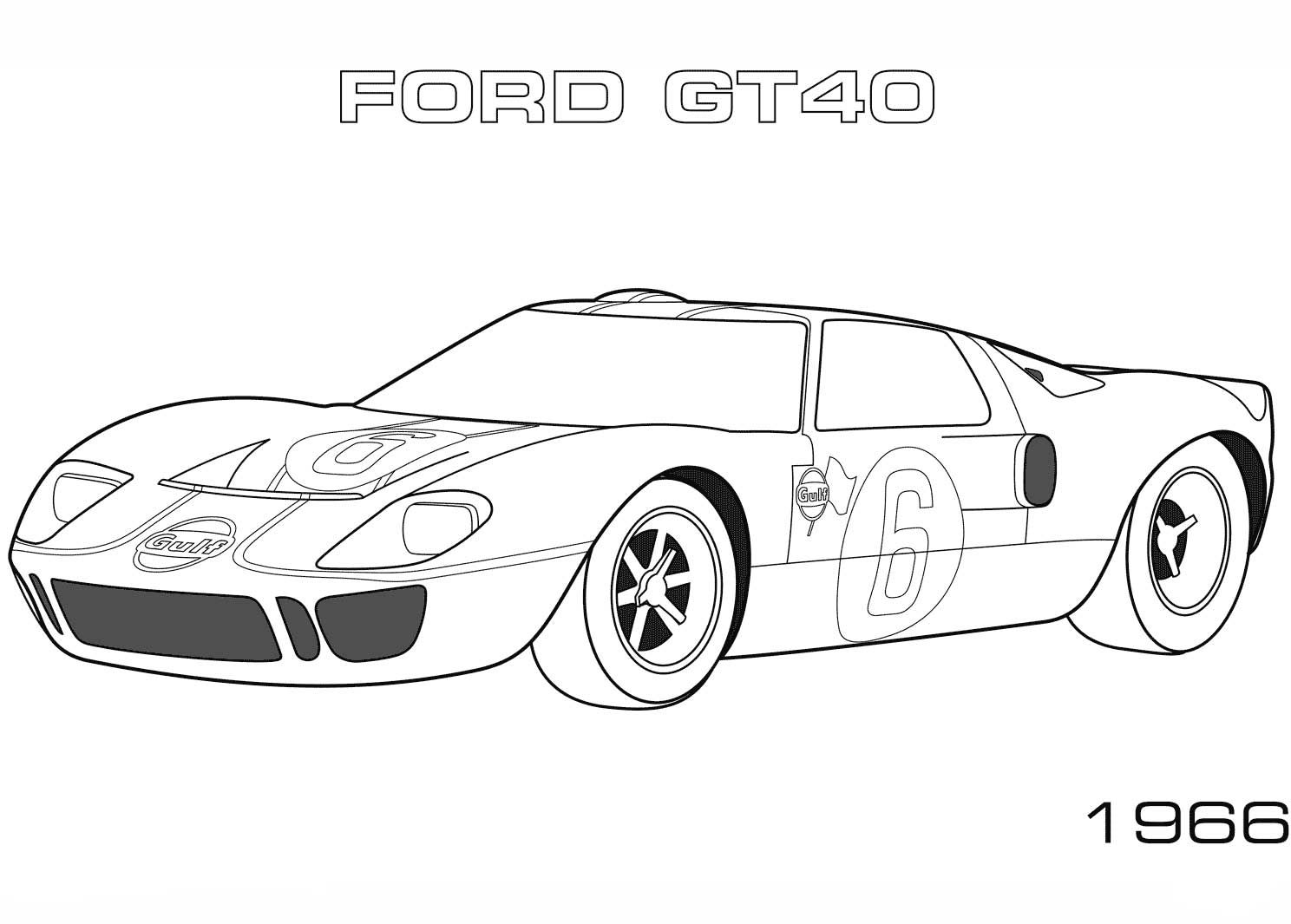 1966 Ford Gt40 Coloring Page Coloring Pages Sports Coloring Pages Ford Gt40