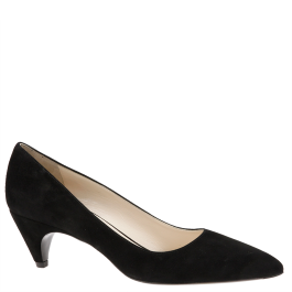Prada mid-heel black suede pumps from autumn winter 2014. Available from Wunderl in Austria.